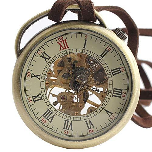 GONGFF Taschenuhren Taschenuhren Halskette Mechanisch Hohl Ohne Deckel Rom Retro Classico Deko Geschenk, 1.7Zoll