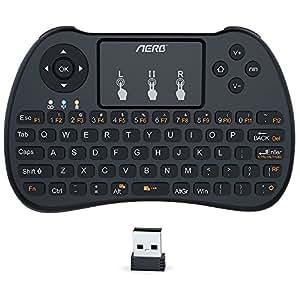 Aerb 2.4Ghz Mini Tastiera Senza Fili con Touchpad per PC, Pad, Xbox 360, PS3, Google Android TV Box, HTPC/IPTV - Nero