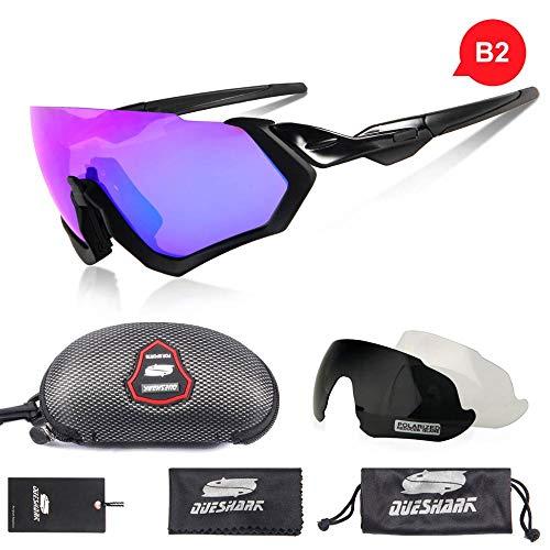 DKMMDWSSD Half Frame 3 Lens Polarized Fahrrad Sonnenbrille, Sportreitbrille UV400 Rennrad Brille MTB Fahrrad Brille, Blau 2