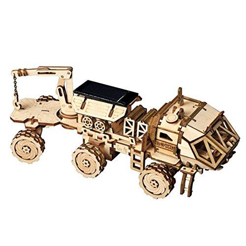 ROKR Solar Powered Toy Car-3D Puzzle de Madera Kits de Modelo - Juguetes Educativos con Energia Solar-Kit de construcción de Modelo mecánico para Adolescentes y Adultos (HM Rover)
