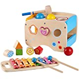 Wooden Learning Hammering & Pounding Toys + 8 Notes Xylophone + Shape Color Recognition, Birthday Gift Toy for age 3 4 5 Years Old and Up Kid Children Baby Toddler Boy Girl