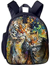 Painting Animals Tiger Double Zipper Closure Waterproof Children Schoolbag Backpacks with Front Pockets For Youth Boy