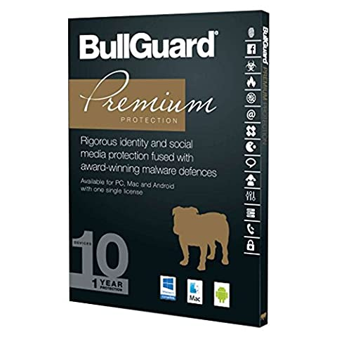 BullGuard Premium Protection 2017 - 1 Year for 10 Devices / Users - Compatible with all Windows, MAC, Android