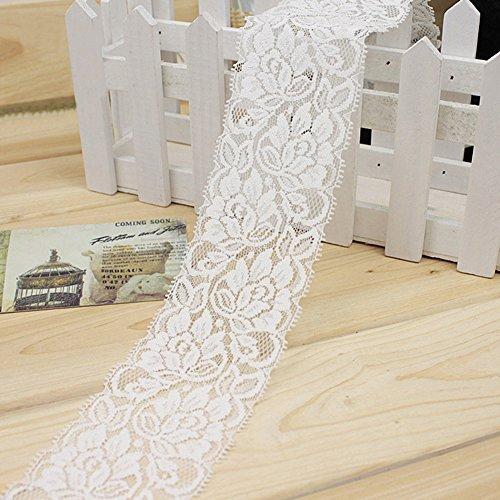 CVERY 1M Borde de Encaje elástico, Cinta de Costura para Flor, Falda de Vestir, decoración de Ropa DIY artesanías, Blanco, Tamaño Libre