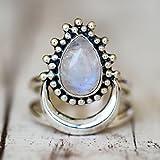 LnLyin Exquisito Anillo de piedra de luna personalizado estilo punk tamaño ajustable tailandés plata anillo de cumpleaños regalo de fiesta #5 AS PICTURE