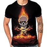 Männer Herren Tops Skull Print Motto Rundhalsausschnitt T-Shirt,Schwarz Orange,XXL