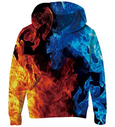 Goodstoworld Teenager Mädchen Hoodie Kinder Jungen Pullover Coole EIS Feuer 3D Druck Kapuzenpullover Sweatshirt Kleider (Das Eis-mädchen)
