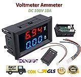 TECNOIOT DC voltímetro amperímetro Azul 100V 10A + LED Rojo...