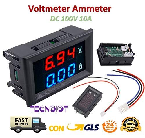 DC voltmeter ammeter Blue 100V 10A + LED red digital voltmeter double amplifier caliber Power-kabel 10 Gauge