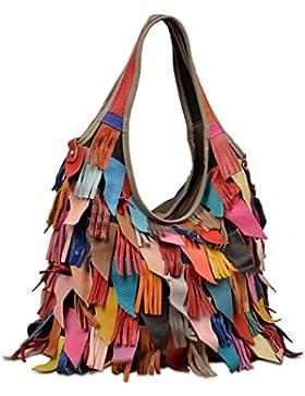 Yaluxe Damen Leder bunt Hippie Fringe Tassel Hobo Henkeltasche Tasche