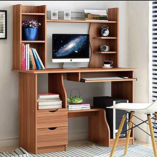 Wayward Computertisch Mit Tastaturunterlage,Computer Schreibtisch Mit Schubladen Hutch Und Bücherregal Kompakt Pc-Laptop Home Office Workstation-d 110x40x130cm(43x16x51inch)