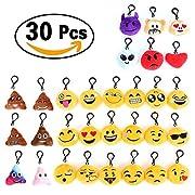 Specifiche: Quantità oggetto: 30 pezzi Diametro: Circa. 6 cmContenuto della confezione: Nr.30Portachiavi Faccine Emoji