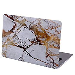 2010kharido Designer Marble Pattern Matte Hard Rubberised Case for Apple MacBook 12 With Retina Display (White And Golden)