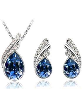 Elegant Schmuck Set dunkelblau Kristall Flügel Ohrstecker und Halskette Glaskristall S289