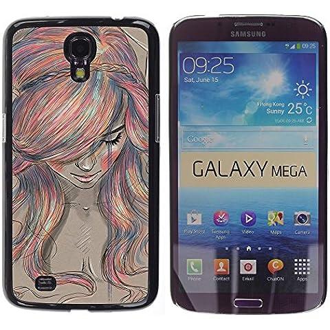 For Samsung Galaxy Mega 6.3 / i9200 / SGH-i527 , S-type® Crayon Chalk Painting Girl Ginger - Art & Design plastica dura Guscio Protettivo Cassa Cover - Mega Crayon