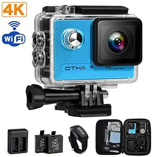 Unterwasserkamera mit Wasserdichte Camera Hülle Wi-Fi 16MP 170 Weitwinkel Objektiv OTHA 4K Kamera Action,2 Wiederaufladbaren Batterien
