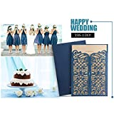 Einladungskarten Hochzeit Wishmade Blau Spitze Lasercut Design Blanko Set 50 Stücke Gratis Umschläge