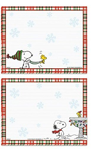 Peanuts weltweit Snoopy und Woodstock Winter Schneeflocken gefüttert Jotter Note Pads, Set von 2 Birdhouse Sledding -