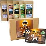 Kaffee Globetrotter - Kaffee Mit Herz Box - Ganze Bohne - für Kaffee-Vollautomat, Espressovollautomat - 5 Mal 100 g Fair Gehandelter Spitzenkaffee Zur Unterstützung Sozialer Projekte