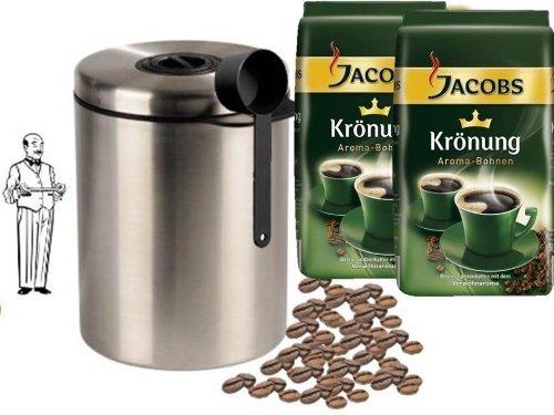 Jacobs Krönung Bohne 500g 2er Pack (2 x 500 g Beutel) + Edelstahldose für 1 kg Kaffeebohnen Neu mit Silicabag von Conny Clever® zur Erhaltung der Aromastoffe von James Premium® +