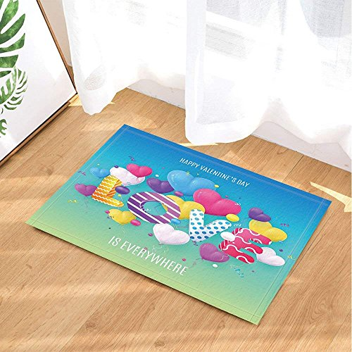 Buon san valentino decor, palloncini cuore realistico con amore per festival tappeti da bagno, zerbini antiscivolo pavimenti interni tappetino porta interna, tappetino da bagno per bambini, 40x60cm, accessori per il bagno