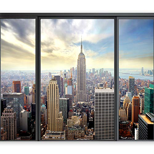 murando - Fototapete New York 350x256 cm - Vlies Tapete - Moderne Wanddeko - Design Tapete - Wandtapete - Wand Dekoration - New York Stadt City Skyline View Manhattan Fenster Himmel Usa 10110904-12