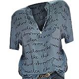 Bringbring Damen Bluse Brief Gedruckte Hemd Kurzarm Locker Damenblusen Tunika Blusenshirt Hemd Elegant Oberteile Tops T-Shirt