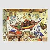 Kunstdruck Janosch - Bären-Familie 48 x 58 cm ohne Rahmen