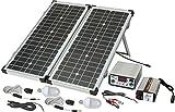 Sistema de Energía Solar SES P4033 Tipo de Célula solar Mono-Crystalline 2x20Wp Medidas módulo 592x 641x25mm Inversor 150W - Carga gratuita y ecológica con energía solar - Panel solar de 40 W, plegable - Componentes adicionales para instalación en am...