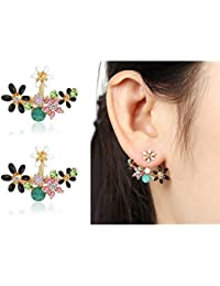 Shining Diva Fashion Multicolour Crystal Stylish Fancy Party Wear Stud Earrings for Women & Girls(8844er)