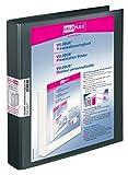 Veloflex 4143180 Präsentations-Ringbuch Velodur, DIN A4, 4-Ring-Mechanik, 265x315x40, mit Außentaschen,schwarz