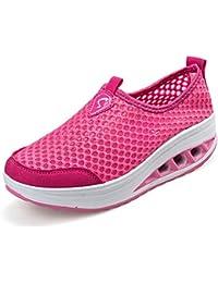 Yuhuawyh Chaussures Femme Chaussures De Marche Pour Les Filles Glisser Chaussures Adolescents (cn = 37 Eu 36, Rose Rouge)
