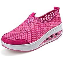 ailishabroy Zapatillas de Running de Competición Mujer Resbalón en Mocasines Huecos Florales de la Plataforma de