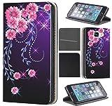 Samsung Galaxy Xcover 3 Hülle von CoverHeld Premium Flipcover Schutzhülle Xcover 3 aus Kunstleder Flip Case Motiv (297 Blumen Pink Schwarz)