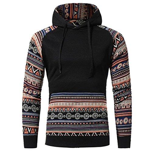 REFULGENCE 2017 Herren Pullover Plüsch Retro-Familie Wind Wei Bekleidungn Bluse Persönlichkeit Langarm Shirt (M, Schwarz) (Pullover V-neck Baumwoll-mischung)
