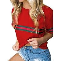 Moda Mujer Color Puro Empalme Rayas T-Shirt Linda Redondo Camisetas para Estampar SeñOras Algodón Tops 4 Colores