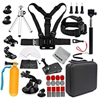 Gurmoir Camera Accessories Kit Sports Action Camera Accessories Kit for GoPro Hero 7 Black/6/5/4Session5/4/DJI Osmo Action/SJ4000/SJ5000/SJ5000X/SJCAM/AKASO/APEMAN and More Action Cameras(GT08)
