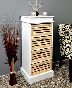 Commode du style Salle de bain Couloir Cuisine Meuble étagère en Blanc de 45 cm x 103 cm avec 4 paniers en bois Naturel