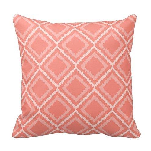 Rosa Corallo Square Pattern tiro Cuscino decorativo federa Cuscino, cuscino, cuscino, design floreale,