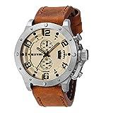 extri x3005e Inox Acier Or Rose Beige quartz chronographe en cuir marron en silicone Saphir Montre pour hommes