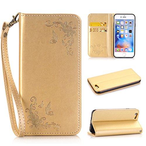Nancen Apple iPhone 7 / 8 (4,7 Zoll) Handyhülle, Luxus Weiß Prägung Schmetterling und Blume Muster Flip Case PU Leder Tasche Ledertasche Etui Protective Schale Bookstyle Schutzhülle mit Standfunktion Gold