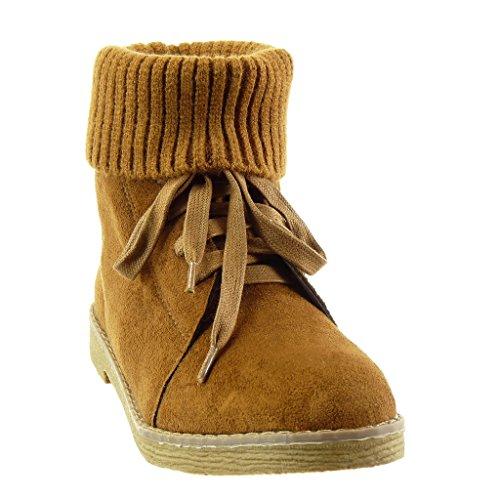 high Fertig häkel Schuhe Camel heel Blockabsatz damen CM 2 Angkorly Stiefeletten Steppnähte 5 w0Tq5I