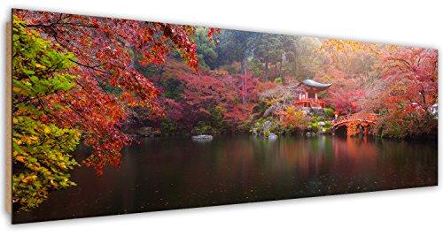 Feeby. Imagen, Cuadro decoración, Pintura - de una pieza, Impresión Deco Panel, Panorámico, 158x53 cm, JAPÓN, PARQUE, LAGO, ROJO