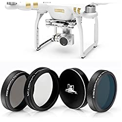 Drones con Cámara DJI Phantom 3 Profesional, Advanzado Y Estándar Filtro Kit: ND8 Filtro + ND16 Filtro + CPL Filtro + Tapa de Filtro