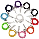 Schmuckband Kette Leder Schnur Wachs Halsketten mit Karabinerverschluss für DIY Schmuck Herstellung, Mischungs-Farbe, 110 Stücke