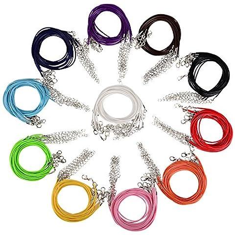 Outus Cordes de Cire Cordon Colliers avec Fermoir de Homard pour la Fabrication de Bijoux Bricolage, Couleur Mélange, 110 Pièces