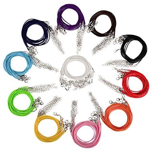 TUPARKA 120 Pezzi Cordoncino per Collana Cerato 1.5mm Cordino per Collana con catenaccio Collare Corda per Collana Braccialetto Accessori per Fare Gioielli 6 Colori
