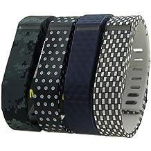 HopCentury - Recambio de muñequera correa para Fitbit Flex con cierre de seguridad translúcido, cierre de manguito metálico, tamaño pequeño o grande (4unidades), 4pcs wrist straps (#27), small