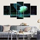 Modern Kunstdrucke 5 Stücke Wand Leinwand Gedruckt Kunst Poster Wohnaccessoires Geschenke 5 Stück Hd Druck Große Cyan Mondnacht-200x 100 cm