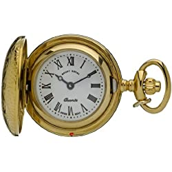 Pendant Watch Ornate Gold Finish Full Hunter Roman Numerals Quartz